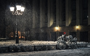 city, bicycle, snow, photography