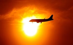 Sun, aircraft, sunset, clouds, silhouette, sky