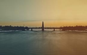 bridge, landscape, architecture, winter, water, photography