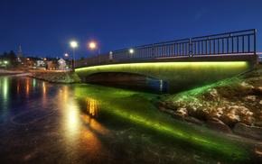 photography, lights, bridge, landscape, winter, night