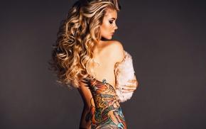 back, black panties, bare shoulders, blonde, wavy hair, tattoo