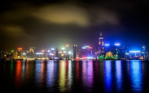 Hong Kong, city, reflection, photography, water, sea