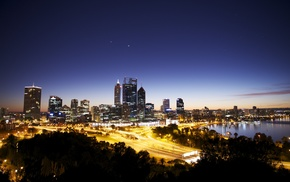 Australia, lights, bay, dusk, cityscape, street light