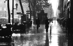 monochrome, street, rain, umbrella, Paris, building