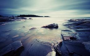 photography, sea, nature, long exposure, coast, rock