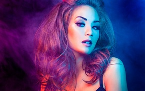 brunette, portrait, black bras, smoke, colorful, girl