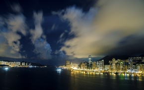 clouds, Hong Kong, building, lights, cityscape, night