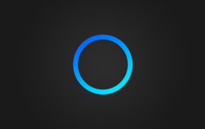 blue, circle, Cortana, simple, gray background