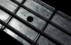 monochrome, guitar, closeup, bass guitars, macro, metal