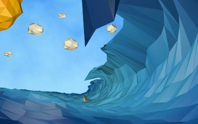digital art, low poly, nature, clouds, waves, water