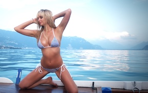 Switzerland, Lake Geneva, nature, bikini, boat, arms up