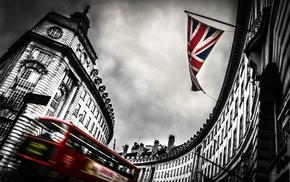 buses, Union Jack, flag, London, city, doubledecker