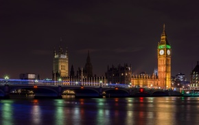 city lights, Westminster, London, night, Big Ben, long exposure