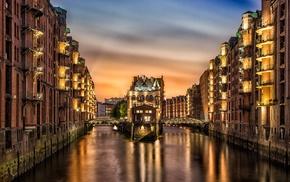 Germany, ports, Speicherstadt, reflection, Hamburg, lights
