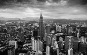 Petronas Towers, city, aerial view, Kuala Lumpur, monochrome