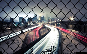 long exposure, lights, cityscape, urban, city, highway