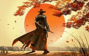 Sun, katana, sword