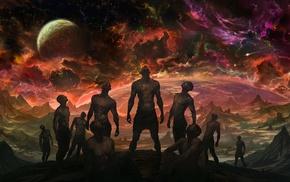 space, fantasy art, group of people, planet, Noah Bradley