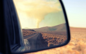 photography, road, landscape, nature, mirror, rearview mirror