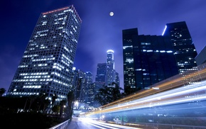 road, Moon, Los Angeles, building, skyscraper, long exposure