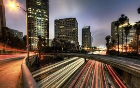 Los Angeles, long exposure, building, street, highway, bridge
