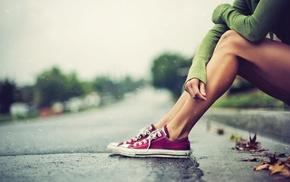 photography, shoes, street, rain, legs, leaves