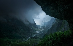 clouds, landscape, rain, valley, France, river
