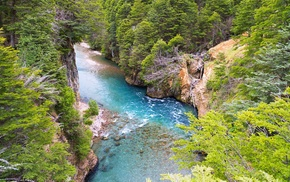 river, Patagonia, landscape, water, trees, Chile