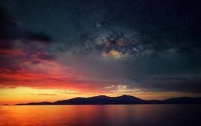 stars, Corsica, calm, galaxy, water, island
