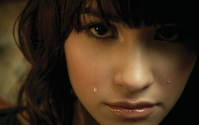 brunette, Demi Lovato, face, girl, tears