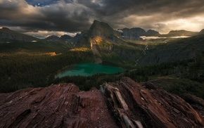 forest, lake, landscape, nature, Glacier National Park, sunset