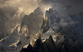 nature, summit, clouds, sunlight, landscape, Himalayas