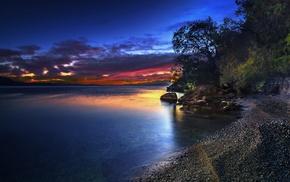 nature, island, sea, sky, hills, trees