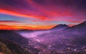 valley, mist, Indonesia, nature, mountains, village