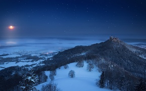 Germany, snow, moonlight, Moon, landscape, castle