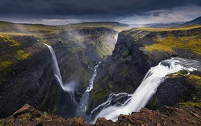 Iceland, waterfall, canyon, landscape, dark, river