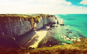 beach, sea, sky, water, tretat, nature