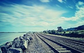 water, rock, railway, sea, photography, nature