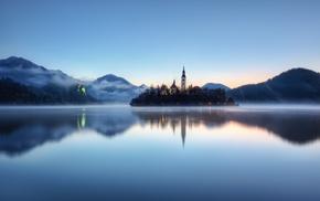 landscape, island, water, lake, nature, Slovenia