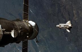 photography, Space Shuttle Atlantis, Mir Space Station, NASA, space shuttle, Earth