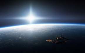 CGI, ISS, International Space Station, horizon, digital art, Sun
