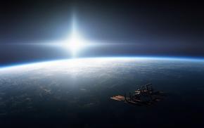 CGI, ISS, International Space Station, horizon, digital art, Sun