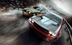race cars, Dodge Challenger, Ford Mustang, road, car