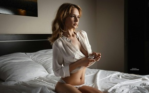 panties, looking away, model, kneeling, lingerie, blonde