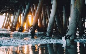sea, beach, pier, water