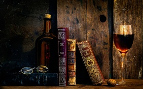 glasses, old, wine, books