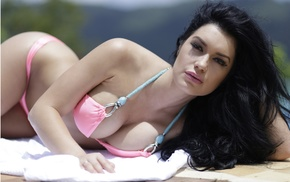 CJ Sparxx, sunbathing, looking at viewer, bikini, model, girl