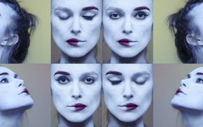 Keira Knightley, face, actress, collage
