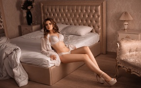 Ellina Myuller, auburn hair, bed, girl, white bra, white lingerie