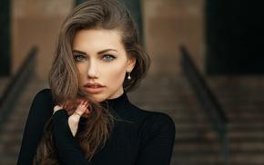 depth of field, Svetlana Grabenko, blue eyes, portrait, Tonny Jrgensen, black clothing